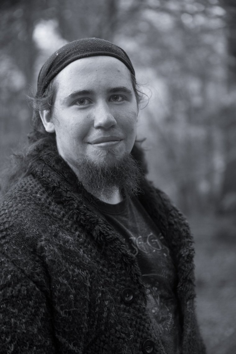 Portrait of performance artist Matt Smith in Leicestershire woods