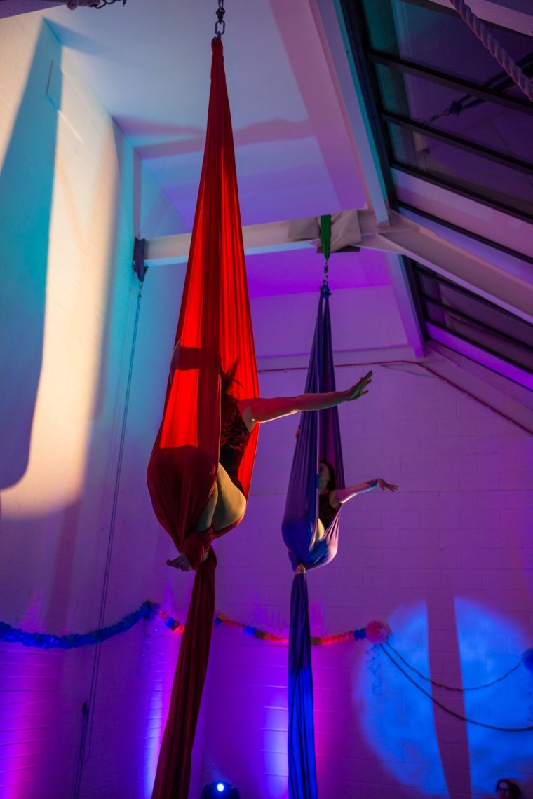Kay Monrose & Ria Ashcroft on silks at Circus Hub Nottingham first birthday