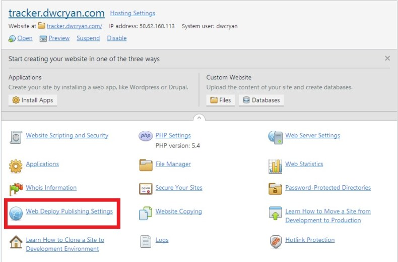 Step 1 - Download Web DeployPublishing Settings