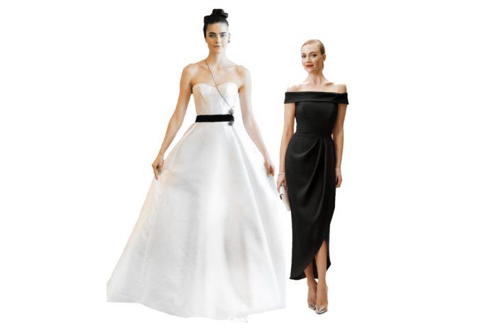 formal black-tie bridal attire