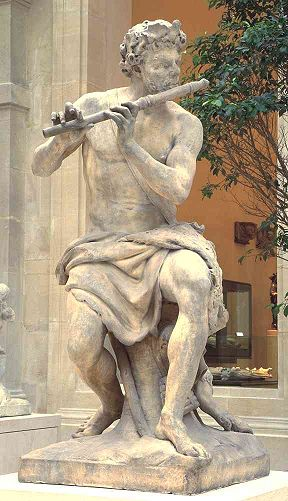 """""""The Flute-playing Shepherd"""" by Antoine Coysevox, 1640-1720 (Louvre)"""