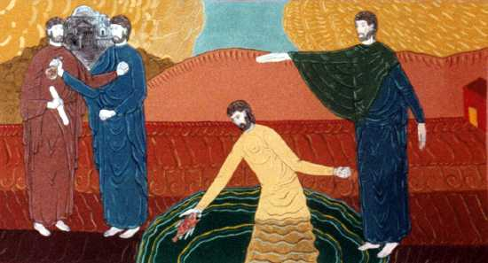 """""""Temple Tax"""" wall painting by Bertrand Bahuet, 1995 (St. Peter's Chapel at Curbans in the southern French Alps)"""