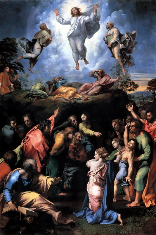 """""""Transfiguration of Christ""""  by Raphael, 1519 (The Vatican).  Two stories are painted:  the Transfiguration, above, and the healing of the demon-possessed boy, below."""