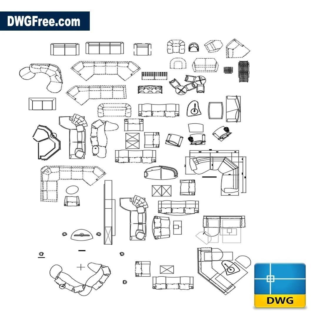 Living Room Furniture Dwg Download Autocad Blocks Model