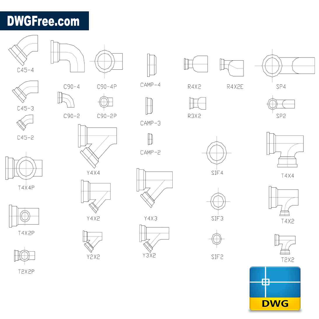 Blocks Sanitary Connections Dwg Drawing Download Free In
