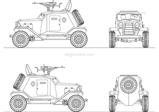 Military vehicle 1 DWG, free CAD Blocks download