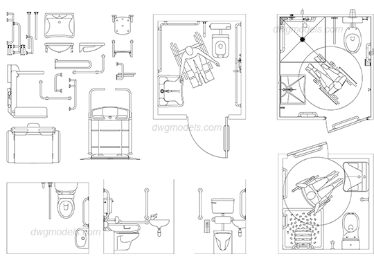 Disabled Toilet 1 DWG, free CAD Blocks download