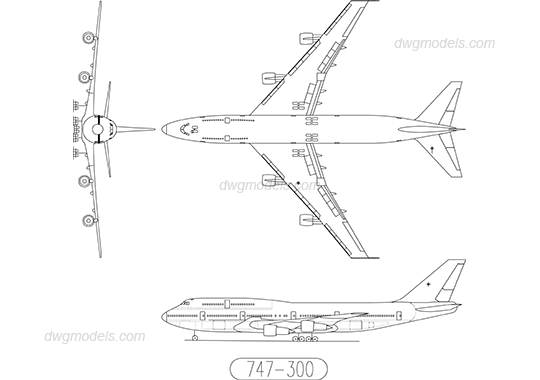 Boeing 747-300 DWG, free CAD Blocks download