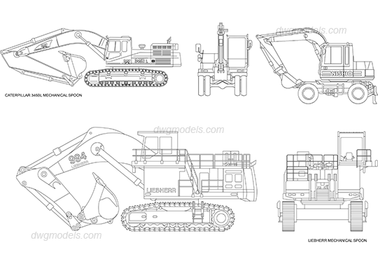 Excavators DWG, free CAD Blocks download