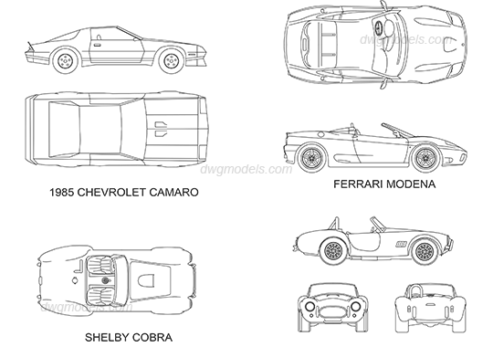 Sport cars DWG, free CAD Blocks download