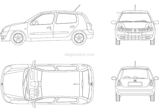 Renault Clio 2001 DWG, free CAD Blocks download