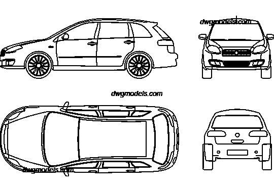 Fiat Croma 2008 DWG, free CAD Blocks download