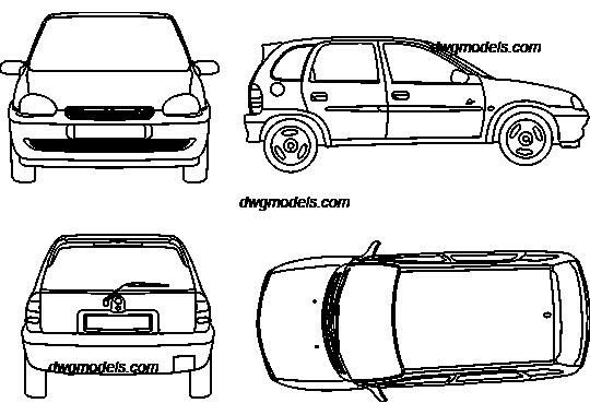 Opel Corsa 1993 DWG, free CAD Blocks download