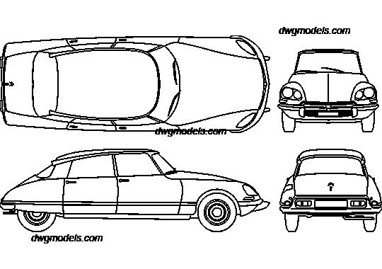 Citroen DS 1957 DWG, free CAD Blocks download