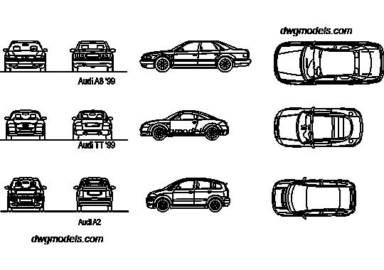 Audi A8, TT, A2 DWG, free CAD Blocks download