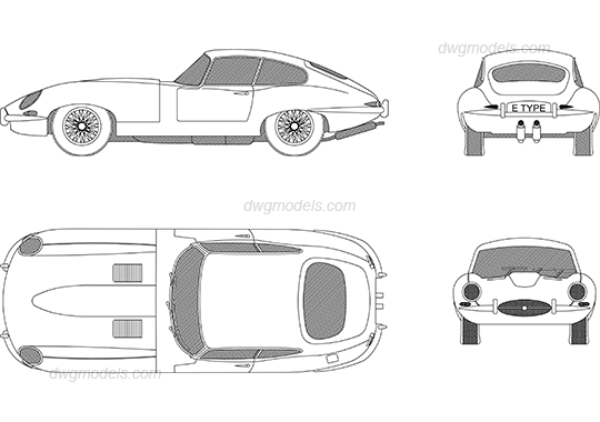 Jaguar E-Type 1961 DWG, free CAD Blocks download