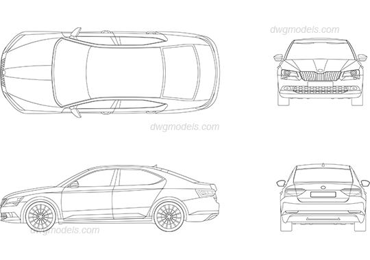 Skoda Superb 2015 DWG, free CAD Blocks download