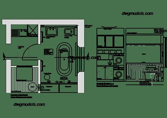 Bathroom Plan and Elevation DWG, free CAD Blocks download