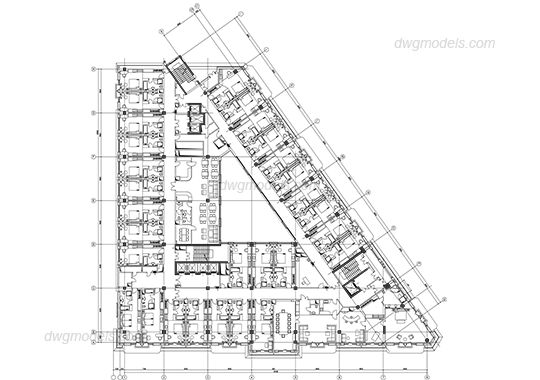 Hotel typical level plan DWG, free CAD Blocks download