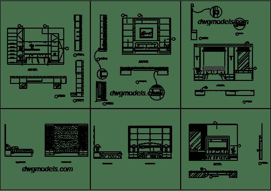 Modern bedroom furniture DWG, free CAD Blocks download