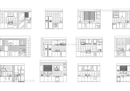 Kitchen elevation DWG, free CAD Blocks download