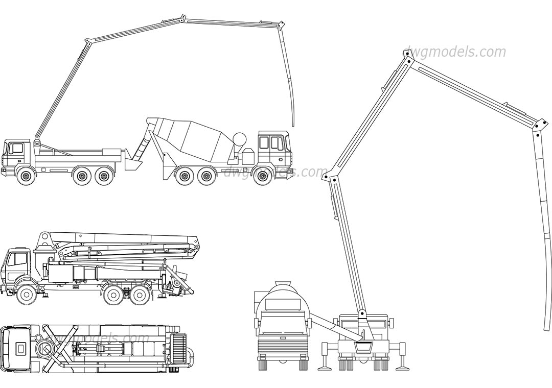 Concrete pump trucks DWG, free CAD Blocks download