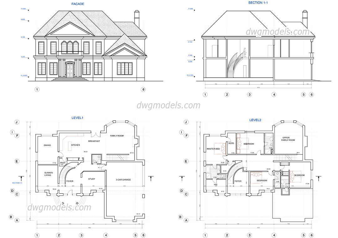 Two story house plans DWG, free CAD Blocks download