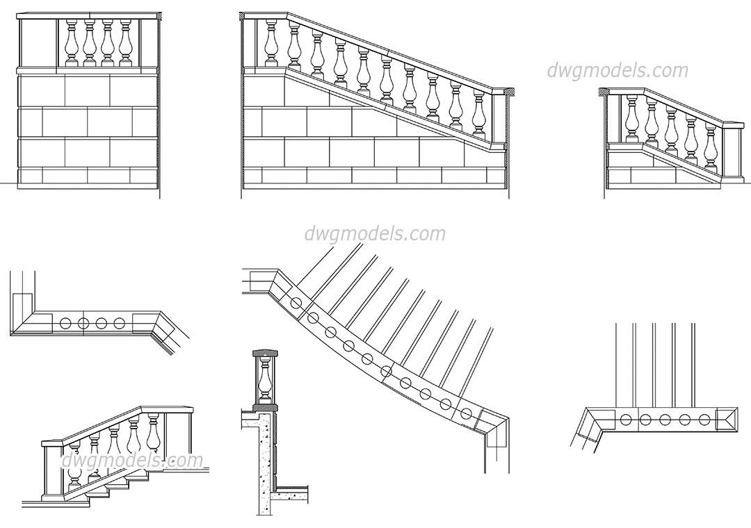 Balustrade DWG, free CAD Blocks download
