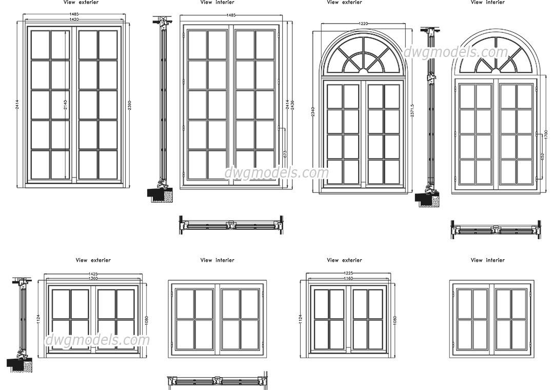 Detailed window DWG, free CAD Blocks download