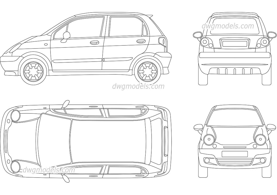 Daewoo Matiz DWG, free CAD Blocks download