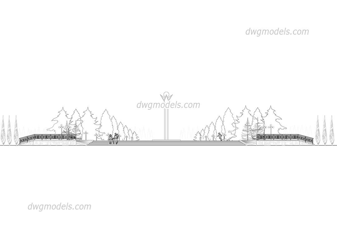 Park elevation DWG, free CAD Blocks download