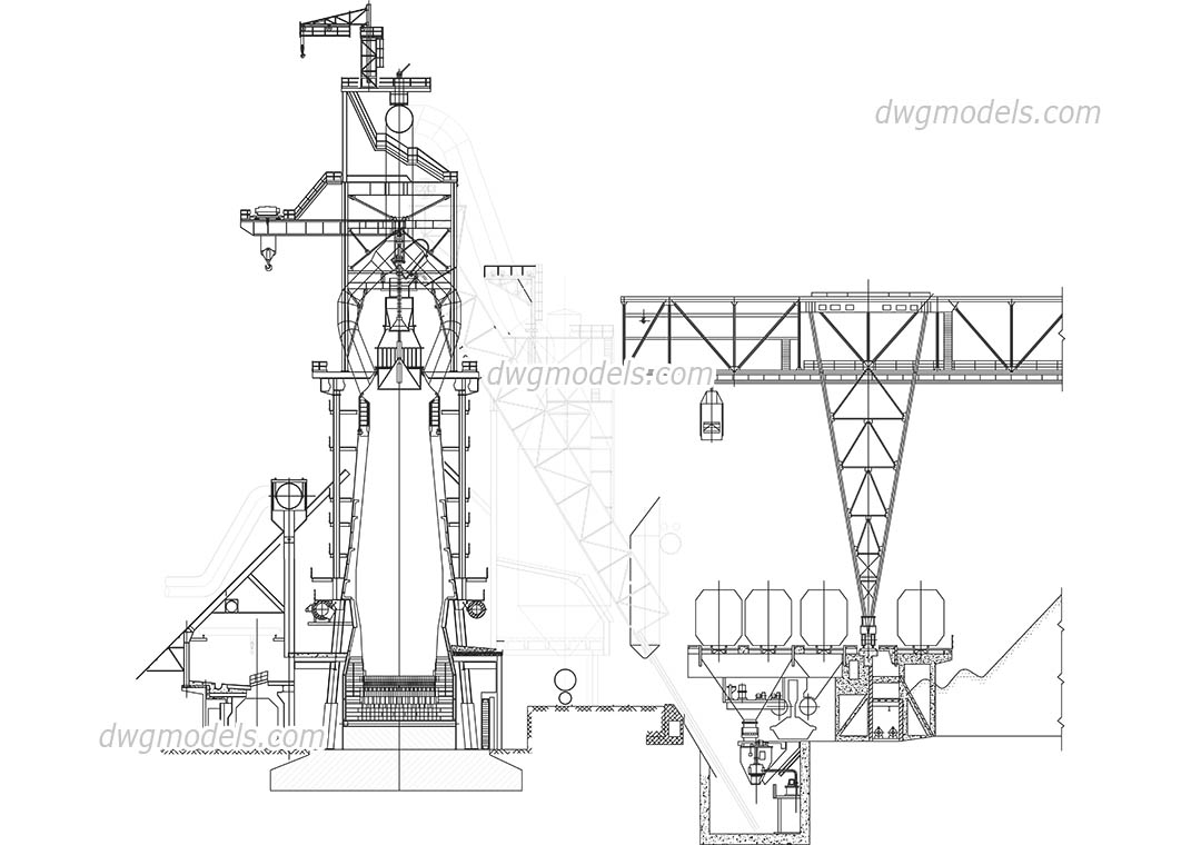 Blast furnace DWG, free CAD Blocks download