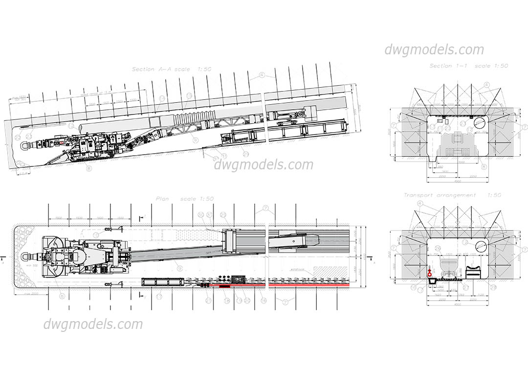 Roadheader DWG, free CAD Blocks download