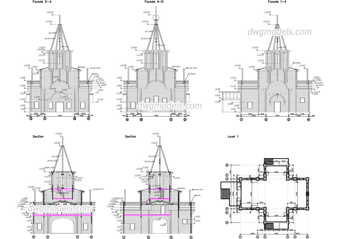 Wooden church DWG, free CAD Blocks download