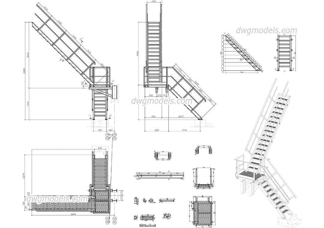 hight resolution of metal stair dwg cad blocks free download