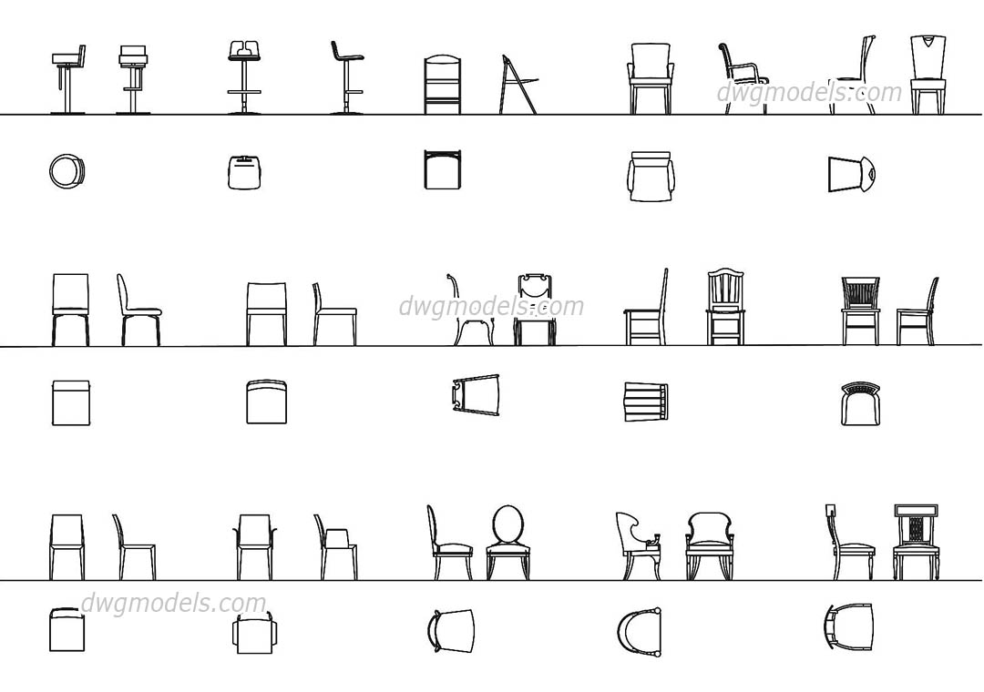 Chairs all projections DWG, free CAD Blocks download