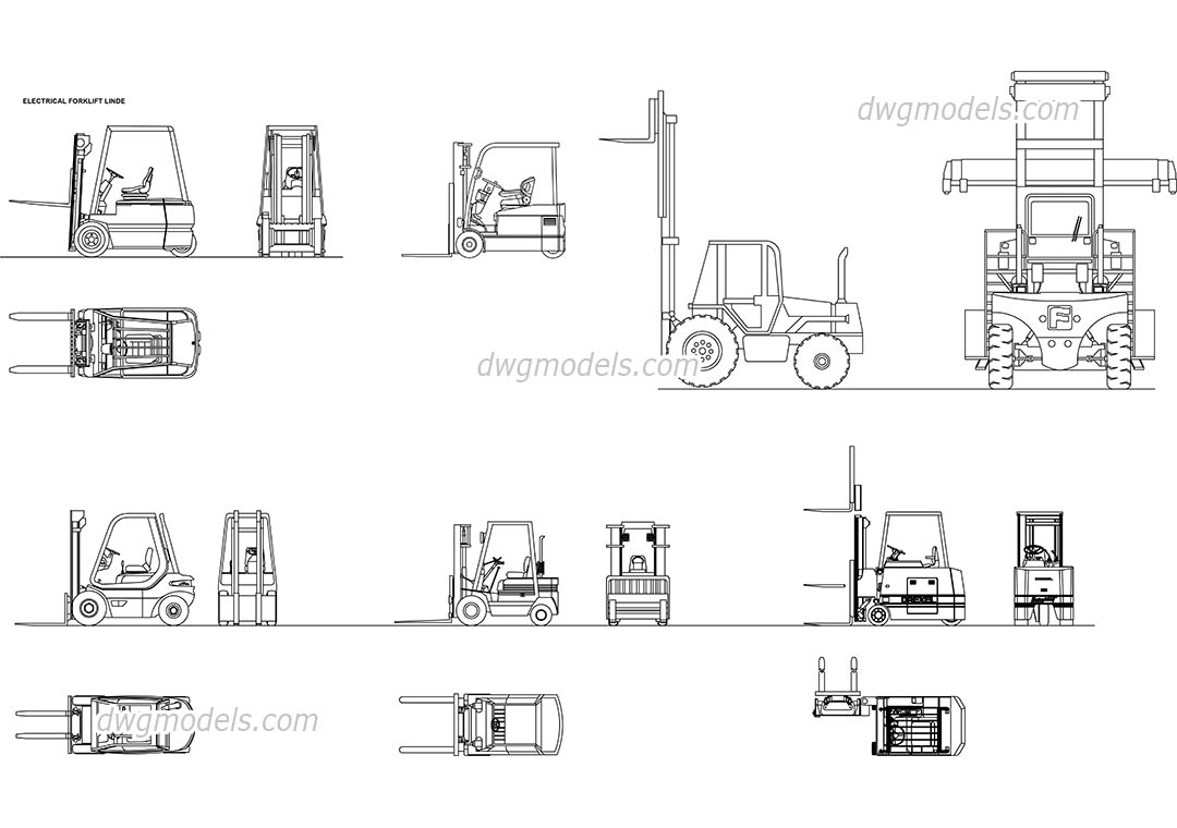 Forklifts DWG, free CAD Blocks download