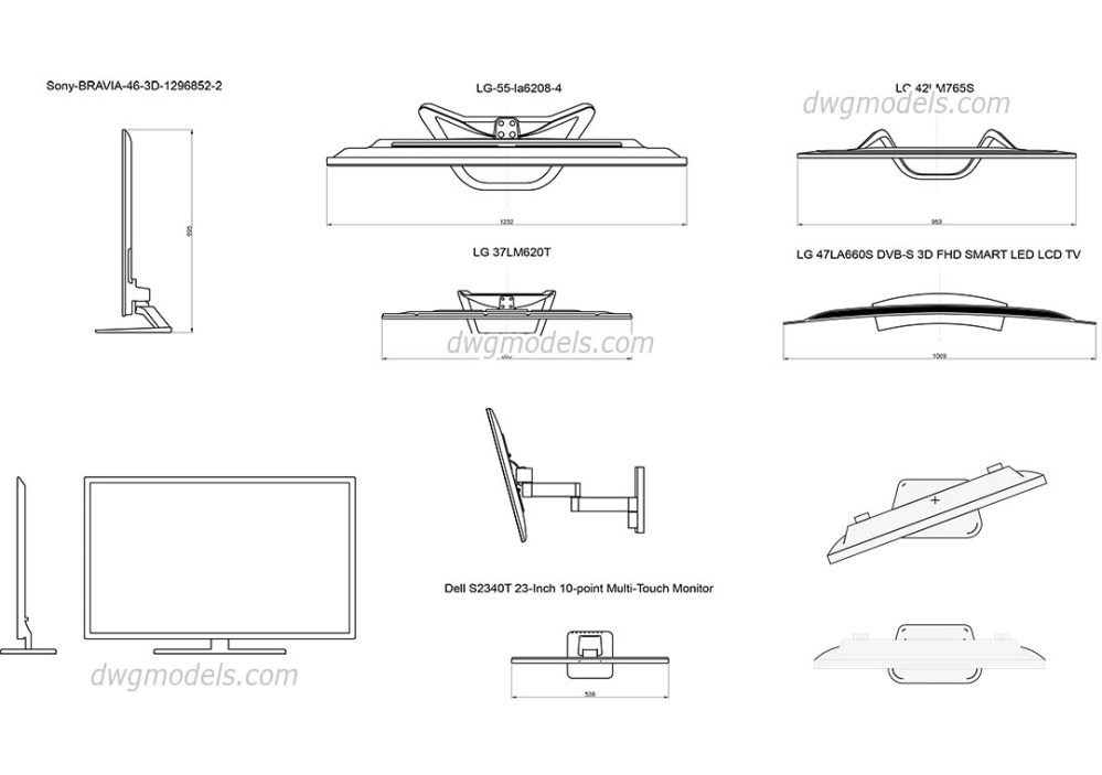 medium resolution of led and lcd tv dwg cad blocks free download