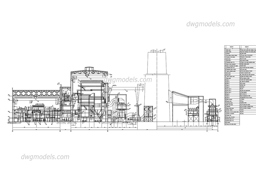 hight resolution of thermal power station of 1000mw dwg cad blocks free download