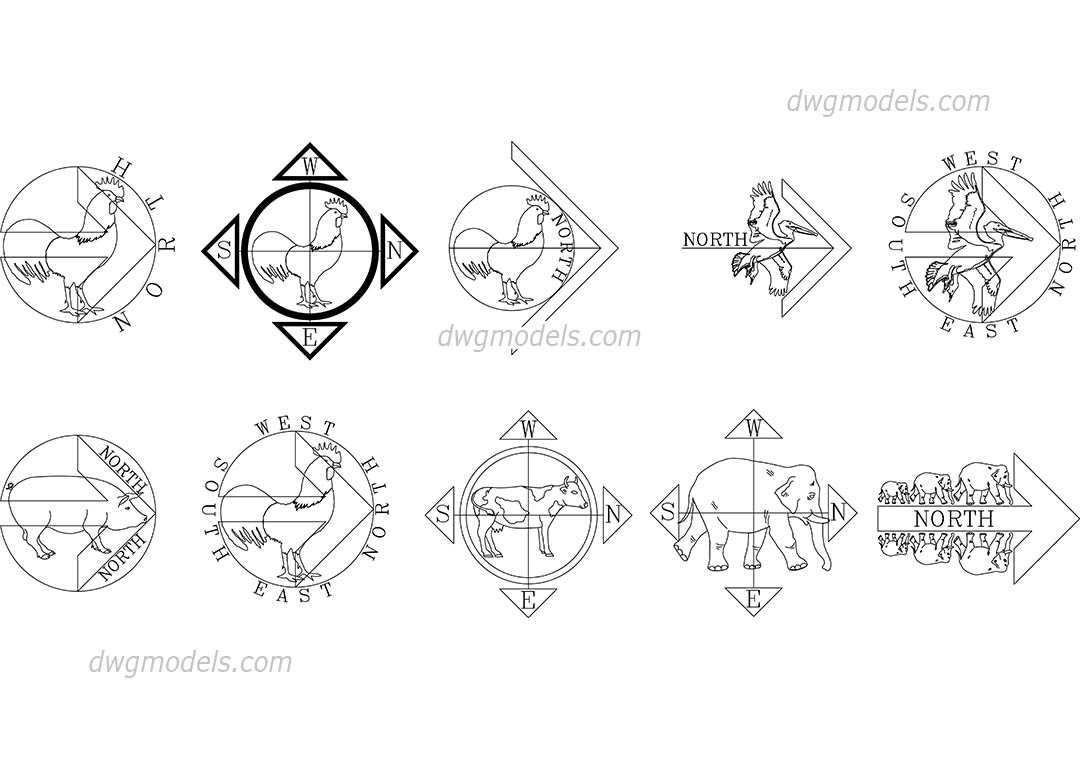 Cardinal direction DWG, free CAD Blocks download
