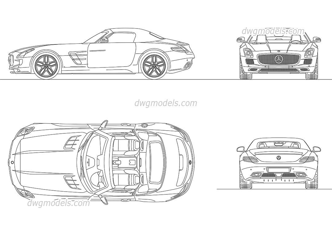 Mercedes-Benz SLS AMG Roadster 2012 DWG, free CAD Blocks