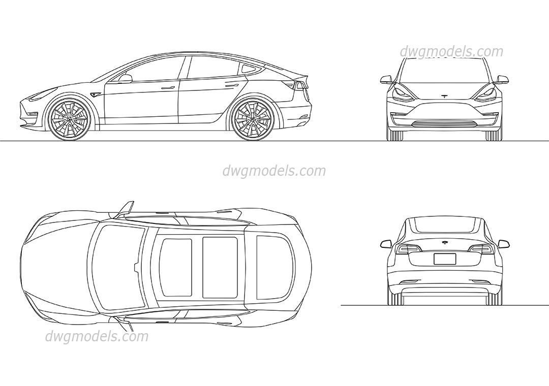Tesla Model 3 CAD blocks, AutoCAD drawings download