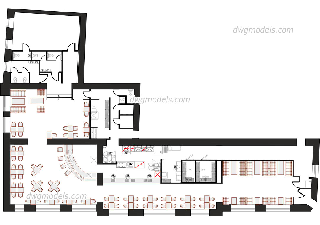 hight resolution of kitchen of the restaurant dwg cad blocks free download