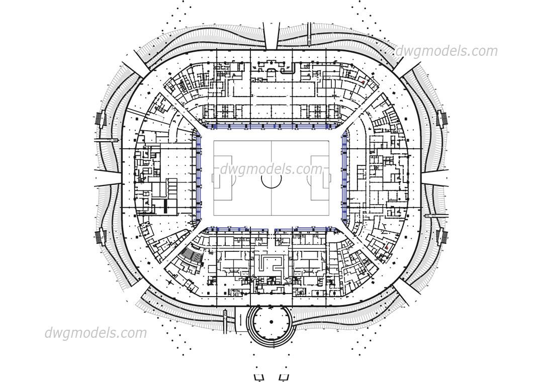 Stadium4-Level Ground AutoCAD drawings free download