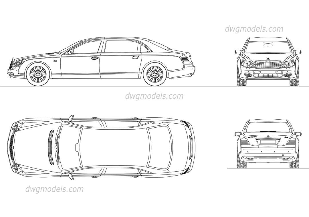 Maybach 62S CAD model, AutoCAD blocks, drawings download