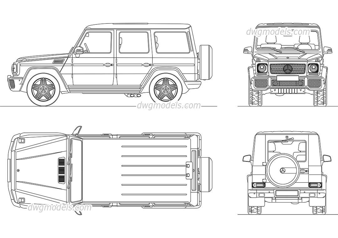 Mercedes-Benz G-Class CAD blocks, AutoCAD drawings download
