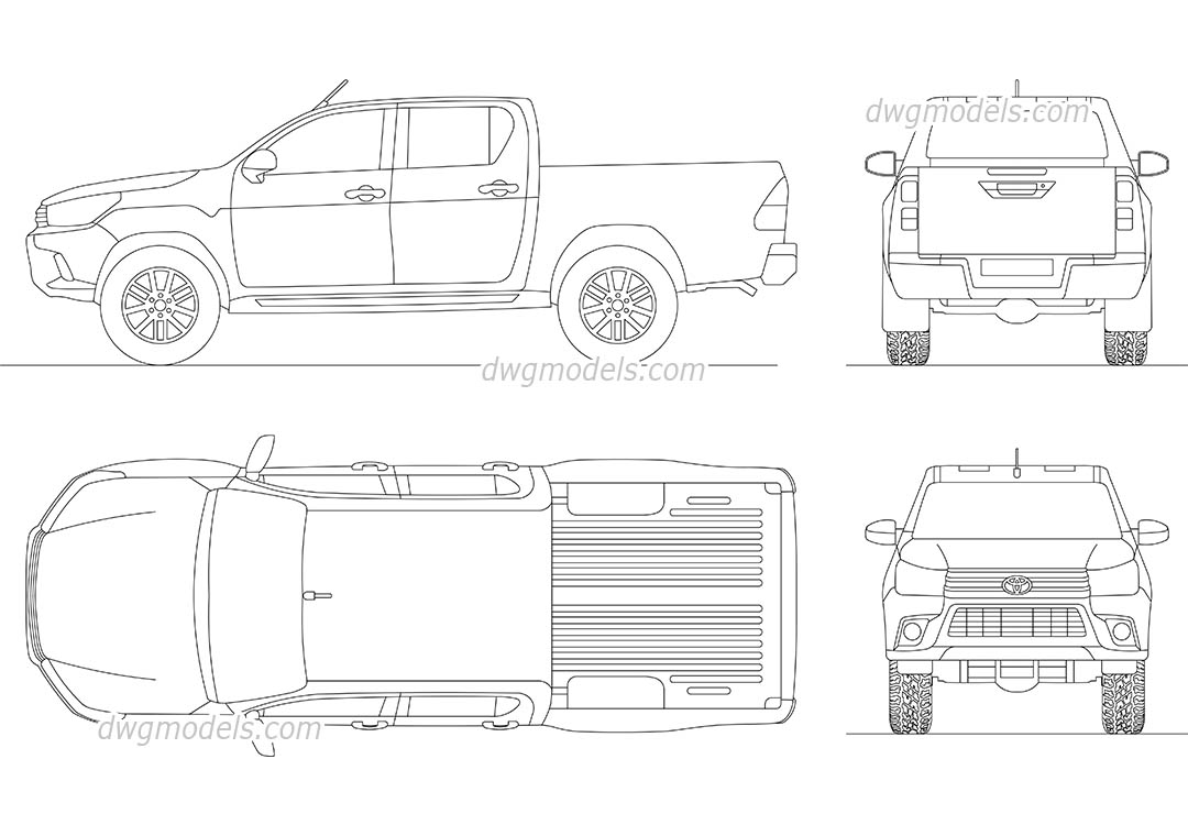 Toyota Hilux (2016) CAD blocks, AutoCAD drawings download