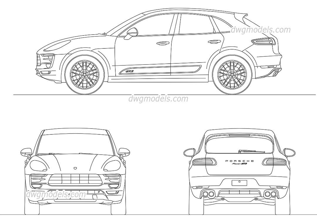 Porsche Macan AutoCAD drawings, CAD blocks download