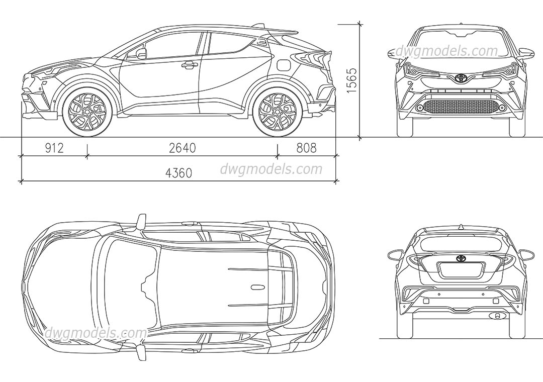 Toyota C-HR 2017 AutoCAD blocks, free CAD drawings download
