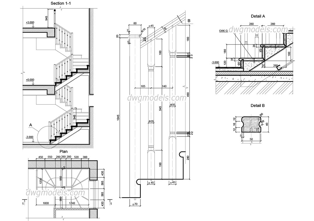 Wooden Staircase AutoCAD drawings free download, CAD blocks
